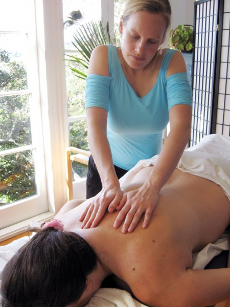 Sally providing a massage on waiheke
