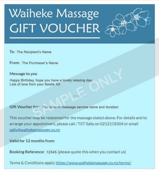 Waiheke massage gift voucher